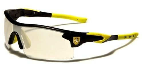 Black Yellow Cycling Fishing Golf Wrap Around Sunglasses Running Colored Mirrored - 360 Eyewear Sunglasses