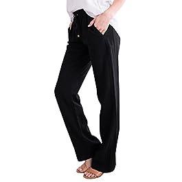 Geckatte Womens Casual Linen Pants Comfy Elastic Waist Drawstring Loose Long Pants with Pockets