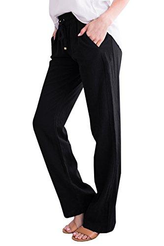Geckatte Womens Casual Linen Pants Comfy Elastic Waist Drawstring Loose Long Pants with Pockets by Geckatte