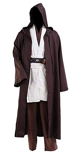Fancycosplay Jedi Robe Cosplay Costume Set Brown with White Outfit Halloween with Belt and Pocket (XL) -
