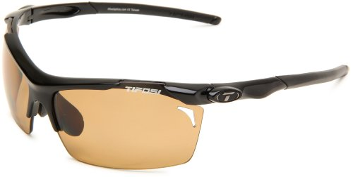 Tifosi Tempt 0140600260 Polarized Wrap Sunglasses,Gloss Black Frame/Brown Lens,One Size