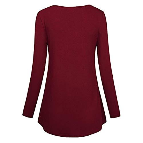 Tops Cou Dress Plaid Chemise zahuihuiM Mode Chemise Hiver Femmes Longues Pliss Rouge Bouton Mini Casual Manches Henley Avant Blouse nxYnqwAf8C