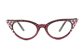16c15837d01 Image Unavailable. Image not available for. Color  Vintage Cat Eye Reading  Glasses with Swarovski Crystals ...