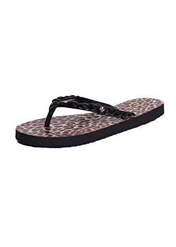 Tory Burch Jeweled Trim Animal Printed Thin Flip Flops Sandals In Black - Leopard Tory Burch