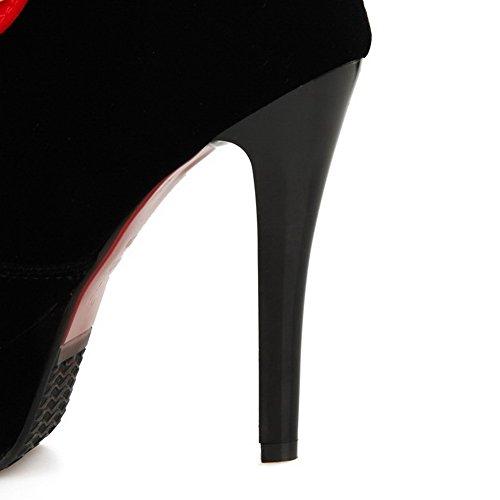 AllhqFashion Damen Gemischte Farbe Hoher Absatz Rund Zehe Schnüren Stiefel Rot