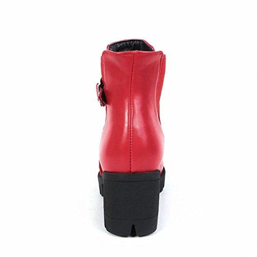 Blockabsatz Rot Damen Shoes Mee kurzschaft Stiefel gwHa7Eq