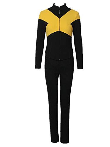 Superhero Full Set Outfit Halloween Cosplay Yellow Black Battle Costume Women M -