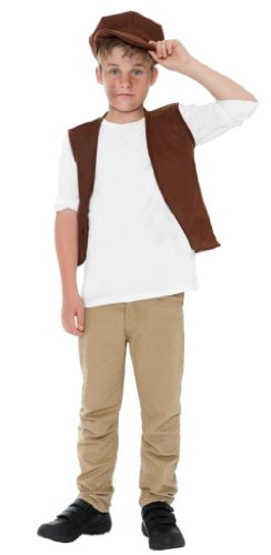Smiffy's Kids Victorian Urchin Kit, Vest and Cap, Brown, One Size, 21912 -