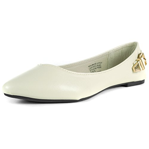Alpine Swiss Womens Buckle Ballet Flats - Pointed Toe White w0gdRKiaMp