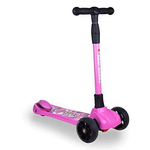 New Olym Kids Scooter 3 Wheel Scooters Toddler Boys Girls Big Flashing Wheels Adjustable Mini Deluxe Scooter with Safety Brake for Little Children Ages 2-12 Years Pink