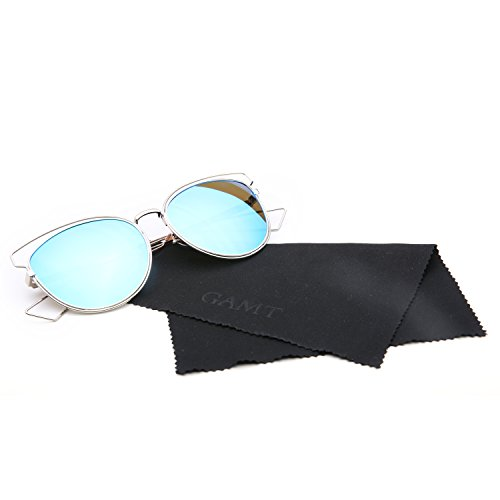 Coastal Cat Eye Glasses - GAMT Mirrored Aviator Sunglasses Cat Eys Designer Style Metal Frame Blue