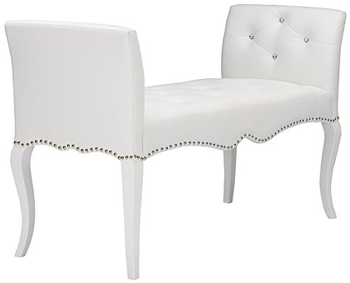 Baxton Studio Wholesale Interiors Kristy Modern & Contemporary Faux Leather Classic Seating Bench, White (Baxton Studio Stella Crystal Tufted Modern Bench)