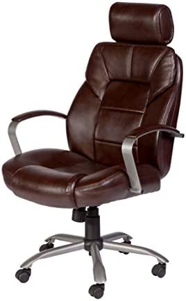 OneSpace Commodore II Big Tall Leather Executive Office Chair, Brown