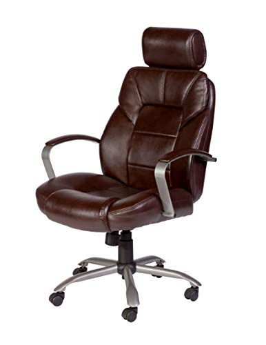 5800 Leather (OneSpace 60-5800T11 Commodore II Big & Tall Leather Executive Office Chair Brown)