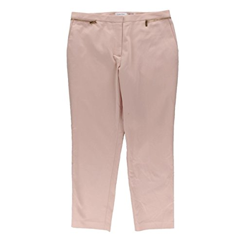 Calvin Klein Womens Cropped Flat Front Straight Leg Pants Pink 12 (Flat Pants Cropped Front)
