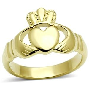 Women's Stainless Steel Ip Gold Plated Irish Celtic Claddagh Ring,Size:8 (Claddagh Knot Ring Gold)