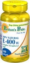 La fierté de puritain 100% naturel E-400 IU 100 Capsules 1 Bouteille