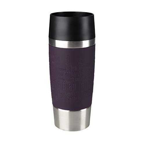 Emsa Travel Mug - Taza térmica de 0.36 l, mantiene calor 4 h y frío 8 h, acero inoxidable con base antideslizante y zona de agarre de silicona con letras grabadas, color lila