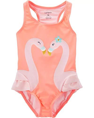 Carters Girls One Piece Swimsuit (18 Months, Neon Orange/Flamingo)