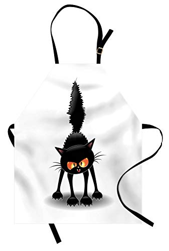 Lunarable Halloween Cat Apron, Grumpy Kitten Cartoonish Spooky Character, Unisex Kitchen Bib Apron with Adjustable Neck for Cooking Baking Gardening, Black White Yellow and Orange