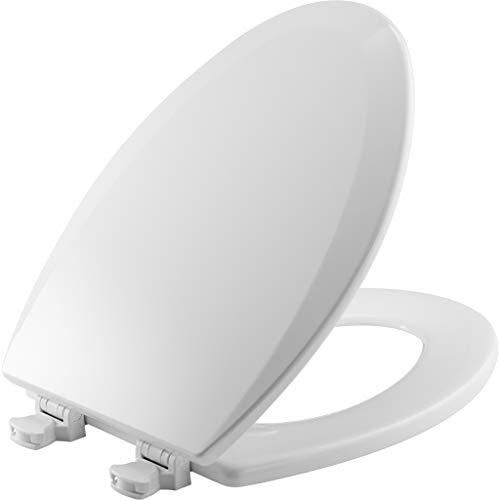 Bemis 1500EC 000 Molded Wood Elongated Toilet Seat With Easy Clean & Change Hinge, White by Bemis