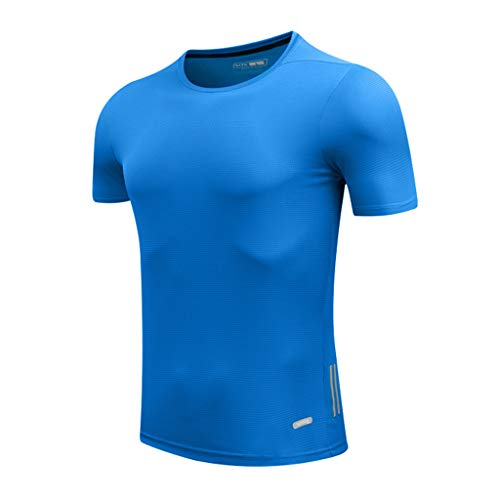 (Big Sale! Fastbot Men's Running Shirt Quick-Drying T-Shirt Sports Slim Round Collar Gym Men's Breathable Top)