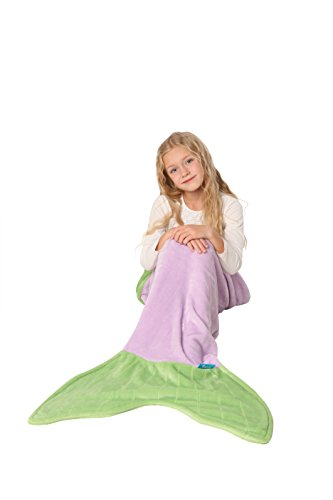 ENFY Mermaid Tail Blanket - Super Soft and Warm Minky Fabric Blanket Perfect Gift for Girls Ages 3-12 (Purple &