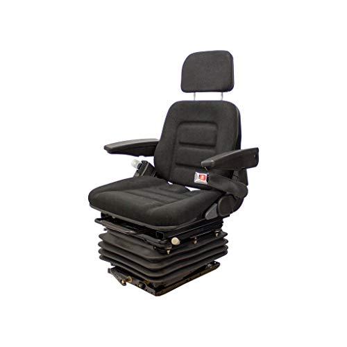 KM EC 1004 Uni Pro Seat and Suspension Seat Backhoes, Construction Equipment, Street Maintenance, Utility Tractors, Combines (Black Fabric)