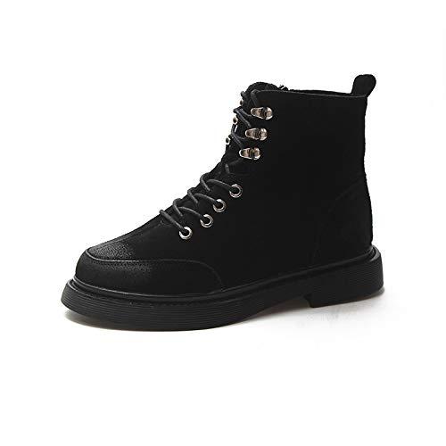 Mujer Británicos De Plano Cuero Negro Para Invierno Viento Fondo Estudiantes E Botines Shoes Martin Esmerilado Otoño Botas xBzqXt0t