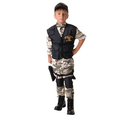 Black Ops Halloween Costumes (Underwraps Big Boy's Underwraps Kids SEAL Team Costume - Medium Childrens Costume, camo/black, Medium)