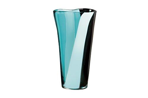 """Qualia Glass Glass Vase, 12.5"""", Blue/White/Black"""