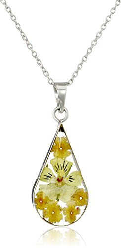 Sterling Silver Orange Pressed Flower Teardrop Pendant Necklace, 16