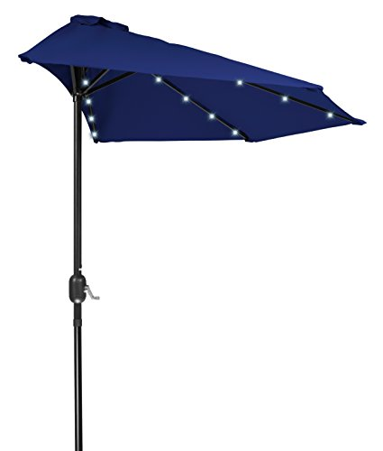 Trademark Innovations 9′ Patio LED Half Umbrella LED – Solar Powered (Blue)