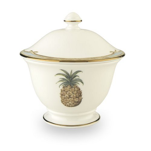 British Colonial Sugar - Lenox British Colonial Accessories Gold-Banded Bone China Sugar Bowl