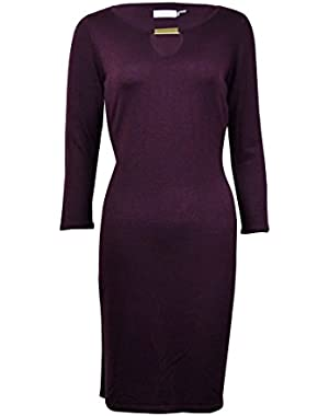 Women's Hardware Keyhole Neckline Sweater Dress