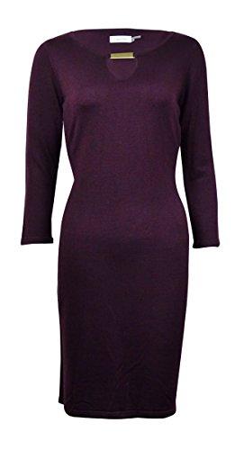 Calvin Klein Womens Keyhole Jeweled Sweaterdress Purple (Purple Jeweled Dress)