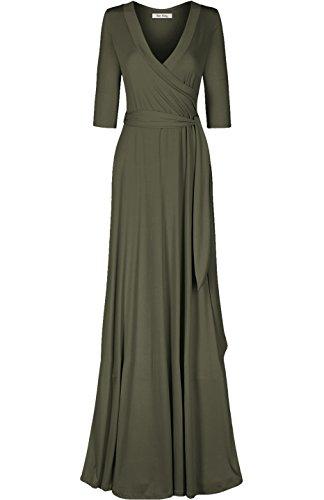 Bon Rosy Women's 3/4 Sleeve Classic Paris Maxi Wrap Dress Olive (Olive Womens Dress)