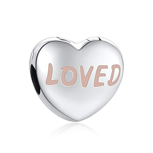 (Angemiel 925 Sterling Silver Heart Clips Charm Beads Enamel Loved Heart Shape Charms Fit Bracelet Necklace for Her)