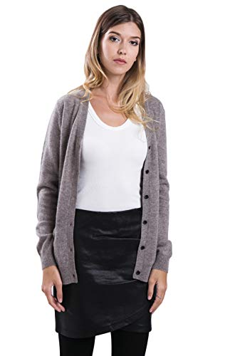 cashmere 4 U Women's 100% Pure Cashmere V Neck Sweater Cardigan -Button Front Long Sleeve with Side Pockets ()