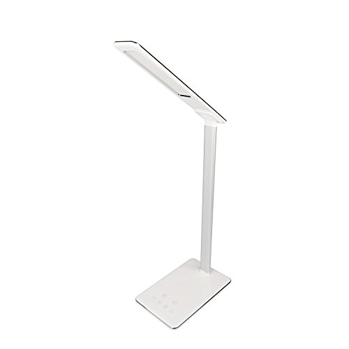MACASA Led Desk Lamp 5W Dimmable Table Lamp with USB Charging Port,4 Color Temperatures,Touch Control,Timer Setting & Memory Function (White) by MACASA