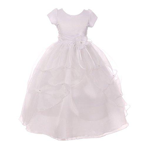 KiKi Kids USA Big Girls White Floral Adorned Short Sleeved Ruffle Communion Dress 14 from KiKi Kids USA