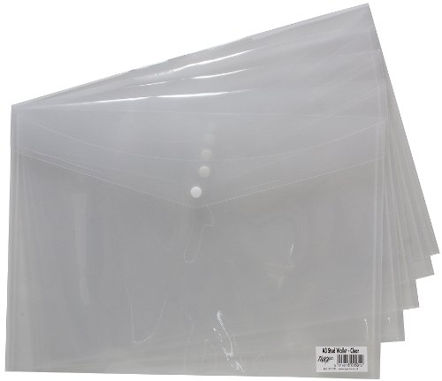 100 x A3 Stud Wallet Folder Clear Plastic Document Holder File With Press Stud Popper