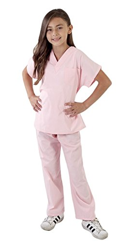 Super Soft Children Scrub Set Kids Doctor Dress up (12/14, Pink) -