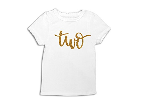 2 Toddler T-shirt - Oliver and Olivia Apparel Girls 2nd Birthday Shirt Gold Glitter Second Birthday Tee Two Shirt (2 Toddler)