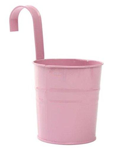 Hosaire Metal Hanging Flower Pots Tin Basket Bucket Planters Mountable Garden Patio Holder Pot Pink