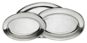 Stainless Steel Fish Platter - Stainless Steel Serving Platter Set, 3-Pack, (Assorted Sizes)