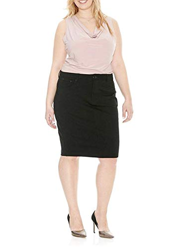 Jack David Sexy Womens Plus Size Stretch Denim Jeans Casual Twill Cotton Skirt Modern Series (2X, Black Twill Cotton Skirt)
