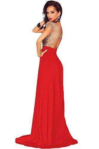 Élégant Mesdames longue robe de cocktail rouge et or dos ouvert soirée Party Dance Club Wear Taille L 12–14EU 40–42