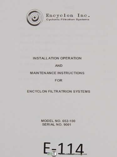 (Encyclon Operations Maintenance Cyclonic Filtration System Manual)