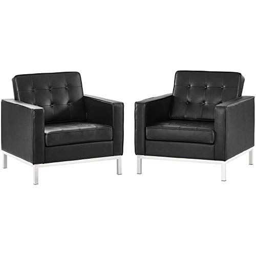 (Modway EEI-3103-BLK-SET Loft Mid-Century Modern Upholstered Leather, Two Armchairs, Black)